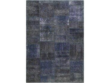 Tapis Persan Patchwork 237x169 Patchwork Gris Foncé/Bleu Clair (Noué à la main, Perse/Iran, Laine)
