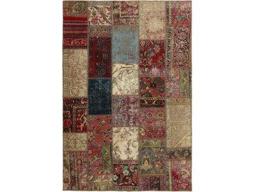 Tapis D'orient Patchwork 208x144 Gris Foncé/Marron Foncé (Perse/Iran, Laine, Noué à la main)