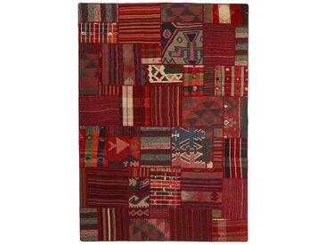Tapis Kilim Patchwork 232x160 Marron Foncé/Rouge Foncé (Laine, Perse/Iran, Noué à la main)