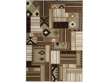 Tapis Fait Main Kilim Pathwork 232x160 Gris Foncé/Beige (Laine, Perse/Iran)