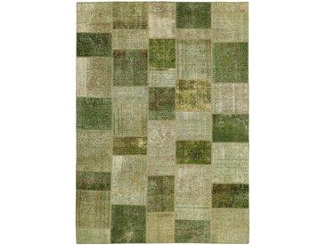 Tapis Patchwork 297x207 Moderne/Design Marron Foncé/Olive Verte (Noué à la main, Laine, Perse/Iran)