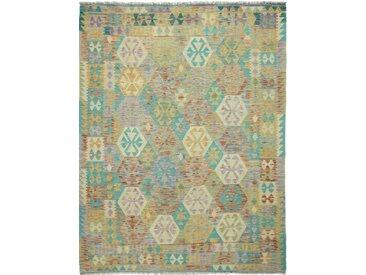 Tapis Kilim Afghan Heritage 245x190 Moderne/Design Gris/Beige (Tissé à la main, Laine, Afghanistan)