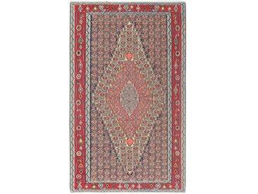 Tapis Kilim Senneh 247x149 Gris Foncé/Rouge (Laine, Perse/Iran, Noué à la main)