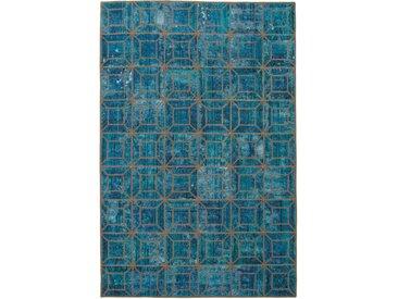 Tapis Persan Patchwork 272x183 Patchwork Gris Foncé/Bleu Foncé (Noué à la main, Perse/Iran, Laine)
