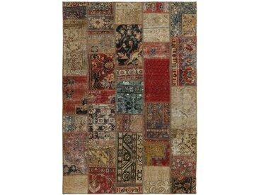 Tapis Patchwork 208x143 Gris Foncé/Beige (Laine, Perse/Iran, Noué à la main)