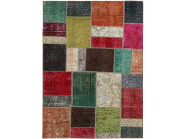 Tapis Patchwork 199x142 Gris Foncé/Marron (Laine, Perse/Iran, Noué à la main)