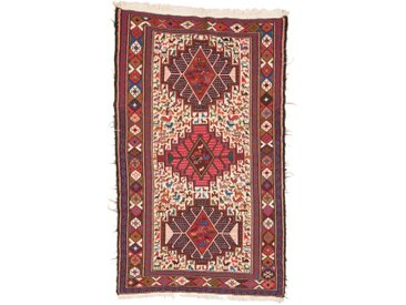 Tapis Kilim Soumak Shahsavan 200x113 Beige/Rouille (Laine/Soie, Perse/Iran, Noué à la main)