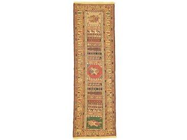 Tapis Kilim Sirjan 253x70 Coureur Beige/Orange (Laine, Perse/Iran, Noué à la main)