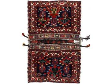 Tapis Kilim Tasche Nomaden 99x81 Gris Foncé/Marron Foncé (Laine, Perse/Iran, Noué à la main)