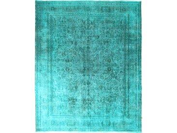 Tapis Vintage 369x301 Bleu/Turquoise (Laine, Perse/Iran, Noué à la main)