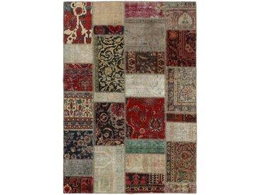 Tapis D'orient Patchwork 203x139 Gris Foncé/Beige (Perse/Iran, Laine, Noué à la main)