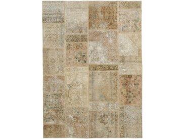 Tapis Patchwork 199x139 Beige/Marron Foncé (Laine, Perse/Iran, Noué à la main)