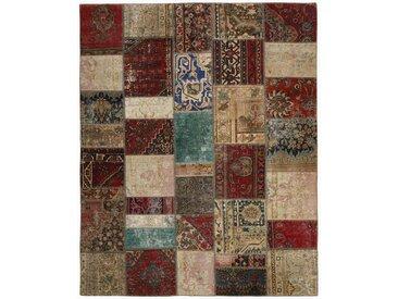 Tapis Patchwork 245x201 Moderne/Design Beige/Marron Foncé (Noué à la main, Laine, Perse/Iran)