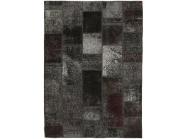 Tapis D'orient Patchwork 204x142 Gris Foncé/Marron Foncé (Perse/Iran, Laine, Noué à la main)