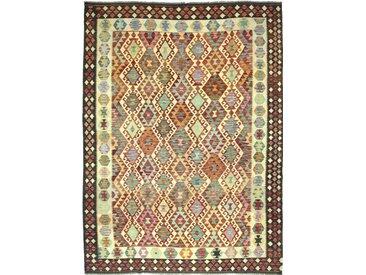 Tapis Kilim Afghan Heritage 364x271 Moderne/Design Marron Foncé/Orange (Tissé à la main, Laine, Afghanistan)