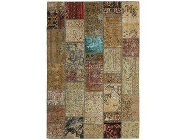 Tapis D'orient Patchwork 202x141 Beige/Marron Foncé (Perse/Iran, Laine, Noué à la main)