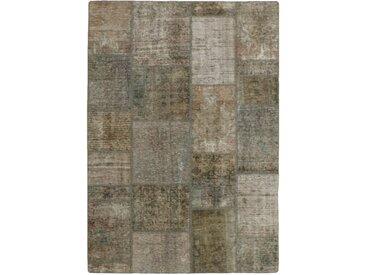 Tapis Patchwork 198x139 Gris/Beige (Laine, Perse/Iran, Noué à la main)