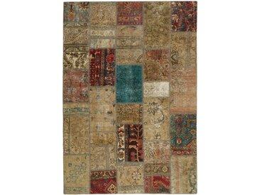 Tapis Persan Patchwork 206x142 Patchwork Beige/Marron (Noué à la main, Perse/Iran, Laine)