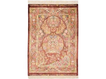 Tapis Persan Ghom Soie 115x83 Ghom Soie Orange/Rose (Noué à la main, Perse/Iran, Soie)