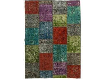 Tapis Patchwork 231x159 Moderne/Design Rouille/Vert Foncé (Noué à la main, Laine, Perse/Iran)