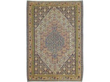 Tapis Kilim Senneh 298x206 Gris Foncé/Marron Foncé (Laine, Perse/Iran, Noué à la main)