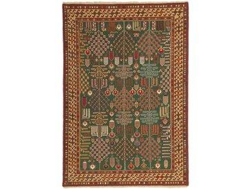 Tapis Kilim Soumak Shahsavan 196x135 Marron/Rouille (Laine, Perse/Iran, Noué à la main)