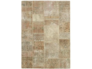 Tapis Patchwork 196x144 Beige/Marron Foncé (Laine, Perse/Iran, Noué à la main)