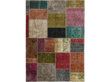 Tapis D'orient Patchwork 198x142 Gris Foncé/Marron (Perse/Iran, Laine, Noué à la main)