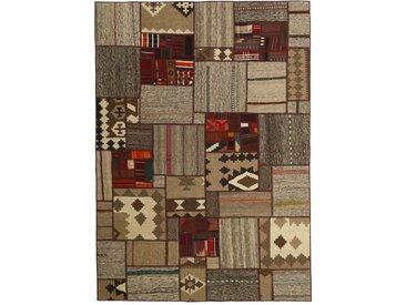 Tapis Kilim Patchwork 232x160 Gris Foncé/Beige (Laine, Perse/Iran, Noué à la main)