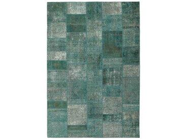 Tapis Patchwork 301x204 Gris Foncé/Bleu Clair (Laine, Perse/Iran, Noué à la main)