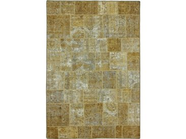 Tapis Patchwork 300x201 Moderne/Design Beige/Vert Foncé (Noué à la main, Laine, Perse/Iran)
