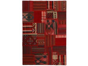 Tapis Kilim Patchwork 234x159 Gris Foncé/Rouille (Laine, Perse/Iran, Noué à la main)