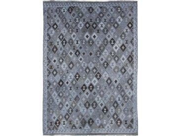 Tapis D'orient Kilim Afghan Heritage Limited 281x202 Gris Foncé/Bleu Clair (Tissé à la main, Afghanistan, Laine)