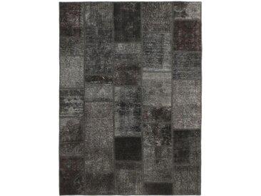 Tapis Patchwork 200x139 Moderne/Design Gris Foncé/Marron Foncé (Noué à la main, Laine, Perse/Iran)