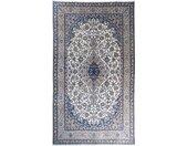 Tapis Naïn 9La 431x246 Gris Foncé/Bleu Clair (Laine/Soie, Perse/Iran, Noué à la main)