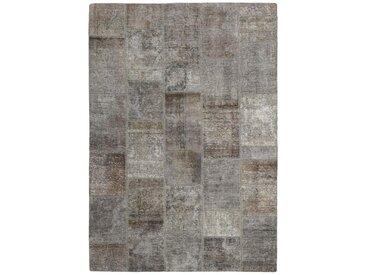 Tapis Patchwork 233x162 Moderne/Design Gris Foncé/Marron Foncé (Noué à la main, Laine, Perse/Iran)