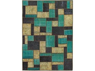 Tapis D'orient Patchwork 242x173 Beige/Turquoise (Perse/Iran, Laine, Noué à la main)