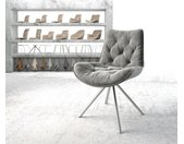 Chaise pivotante Taimi Flex gris velours cadre croisé rond acier inoxydable