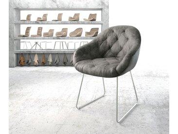 Fauteuil Gaio Flex gris vintage cadre patin acier inoxydable