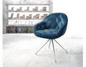 Chaise pivotante Gaio Flex bleu velours cadre croisé conique acier inoxydable