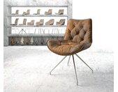 Chaise pivotante Taimi Flex marron vintage cadre croisé conique acier inoxydable