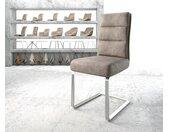 Chaise de salle à manger Pela Flex taupe vintage cantilever plat acier inoxydable