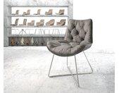 Chaise de salle à manger Taimi Flex gris vintage X cadre acier inoxydable