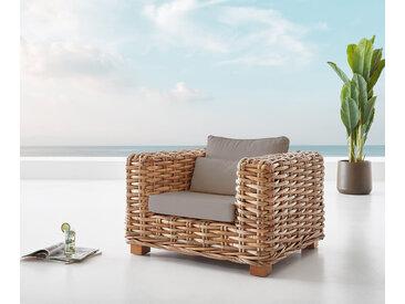 Chaise longue Nice en rotin naturel avec coussin marron