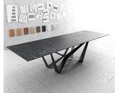 Table à manger Edge 300x100cm Laminam® céramique gris pieds milieu acier plat noir