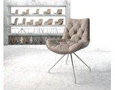 Chaise pivotante Taimi Flex taupe vintage cadre croisé conique acier inoxydable