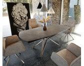 Table manger Carlow 130/200x90 cm céramique marron acier inoxydable extensible