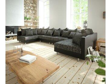 Canapé Panoramique Clovis XL noir canapé modulable extensible