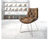 Chaise de salle à manger Taimi Flex marron vintage X cadre acier inoxydable