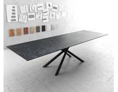 Table à manger Edge 300x100cm Laminam® céramique gris pieds milieu croisé rond noir